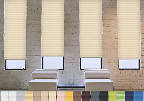 Verdunklungs- Plissee nach Maß (Blackout, 100% Abdunkelnd), deutsche Wertarbeit, alle Größen in vielen Farben verfügbar (Farbe: Beige, Höhe: 101-110cm, Breite: 91-100cm)