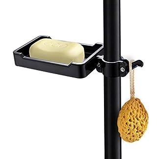 Jabonera para la Ducha Soporte para jabón para riel de ducha contemporáneo Jabonera de ducha Bandeja de jabón con clip para 19-25 mm Riser Rail Negro PHASAT