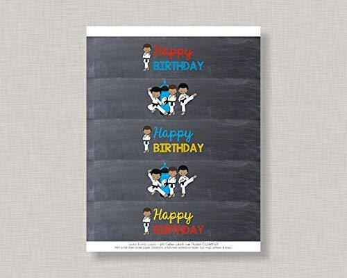 Zhaoshoping Karate Wasserflasche Labelskarate Party Karate Geburtstag Wasserflasche Etiketten Geburtstag Wasserflasche Labelschalkboard Wasserflasche Etiketten Holzschild Basteln für Wohnzimmer Deko (Wasserflaschen Etiketten Für Benutzerdefinierte)