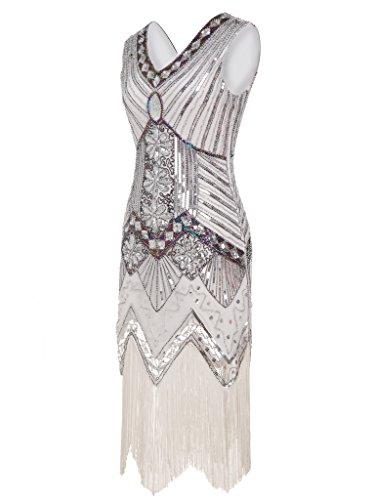 FAIRY COUPLE 1920 Flapper doppelte V-Ausschnitt Pailletten Strass verschönert fransen Kleid (Flapper Kostüme Weiß Kleid)