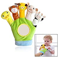 Xrten Educational Puppets Toy Glove Cartoon Animal Finger Baby Story Time Props Soft Educational Dolls Toys