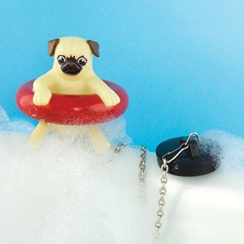 Mops im Schwimmreifen Badewannenstöpsel - Hund im Rettungsring Abflussstopfen Badewanne