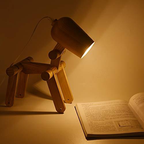 ELINKUME Lámpara de mesa perro de madera - diseño de articulación ajustables creativas, linda forma de perro lámpara de noche iluminación decorativa con variedad de modelados