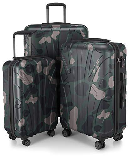 SUITLINE SUITLINE - 3er Koffer-Set Trolley-Set Rollkoffer Hartschalen-Koffer Reisekoffer, TSA, (S, M & L), Set di valigie 76 centimeters 210 Multicolore (Camouflage)
