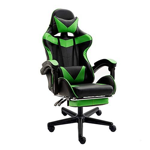 Sedia gaming poltrona da gioco ergonomica girevole con poggiapiedi a scomparsa sedia da ufficio poggiatesta e cuscino massaggiante lombare in pelle pu(vert)