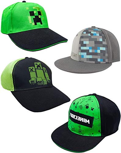Vanilla Underground Minecraft Boys/Youth Baseball Snapback Caps (Creeper Diamond Steve Overworld) Chino Youth Cap