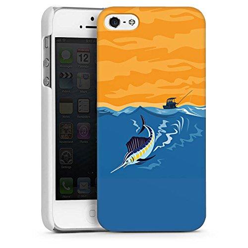 Apple iPhone 5 Housse étui coque protection Espadon Pêche Poisson CasDur blanc