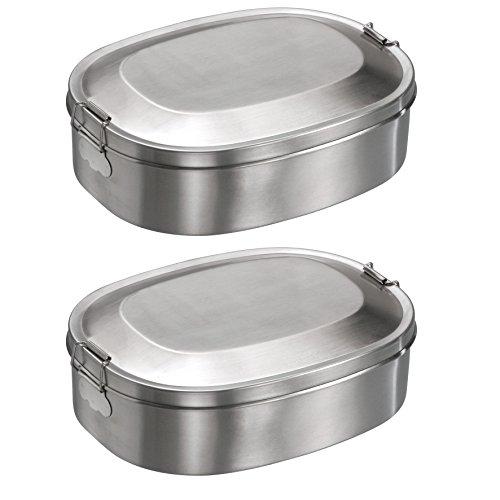 2x Mato Vesperbox 18,5x14,2cm Edelstahl Proviantdose Lunchbox Brotzeitdose Vesperdose Frühstücksbox Brotdose