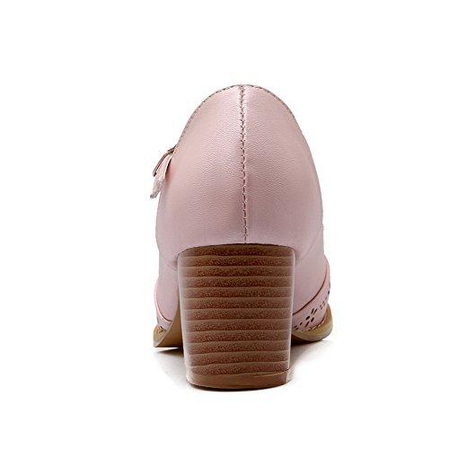 AllhqFashion Femme Rond Boucle Pu Cuir Couleur Unie à Talon Correct Chaussures Légeres Rose