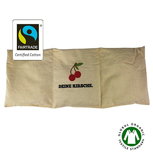 Natur Kirschkernkissen 100% Bio Baumwolle Fairtrade Kältekissen Wärmekissen extra lang XXL 3 Kammern Kältetherapie Wärmetherapie Mikrowelle 50x20cm