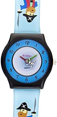 Reloj niño chico infantil, de aprendizaje educativo analógico de cuarzo PIRATA en caja de regalo, Resistente al agua, Mecanismo Seiko, Batería Sony, azul, Kiddus modelo 7