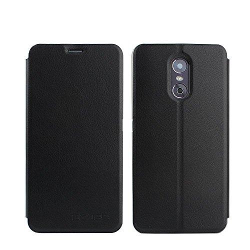 Tasche für Ulefone Gemini Hülle, Ycloud PU Ledertasche Metal Smartphone Flip Cover Case Handyhülle mit Stand Function Schwarz