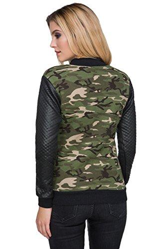 FUTURO FASHION - Sweat-shirt - Blouson - À Fleurs - Col Chemise Classique - Femme vert Green green
