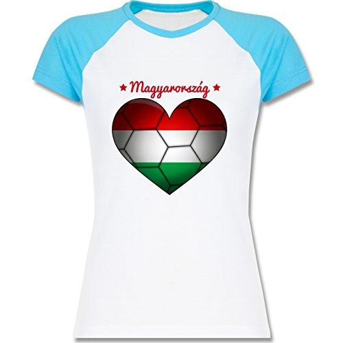 Handball - Handballherz Ungarn - zweifarbiges Baseballshirt / Raglan T-Shirt für Damen Weiß/Türkis