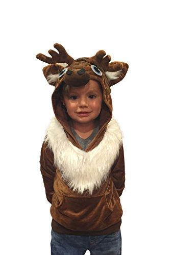 comfycamper–Kostüm-Karneval/Halloween, Motiv: Rentier Sven (Frozen), Kinder, Sweatshirt mit Kapuze, braun, HC-Sve-4 (Frozen Kostüm Sven)