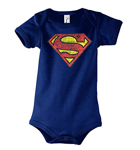 TRVPPY Baby Kurzarm Body Strampler Modell Vintage Superman, Gr. 3-6 Monate, Navyblau - Spiderman Shirt Vintage