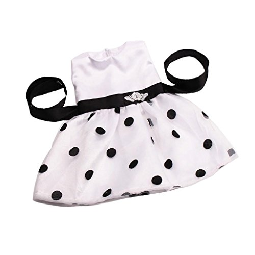 ELECTROPRIME Adorable Doll Sleeveless Dotted Waistband Dress for 18'' American Girl Dolls