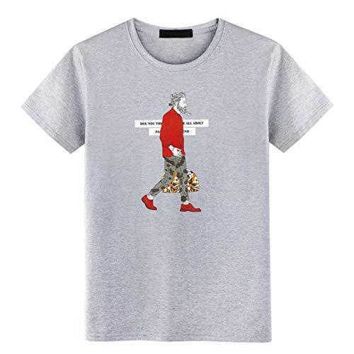 Kurzärmeliges T-Shirt aus Baumwolle mit Rundhalsausschnitt, lose grau XXL