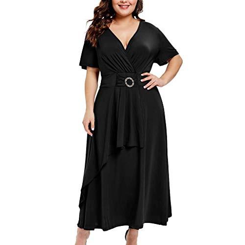 Yvelands Langes Kleid der Frauen Plus Größe Art und Weise Feste Kurze Hülse V-Ausschnitt Schärpen Verband beiläufiges ()