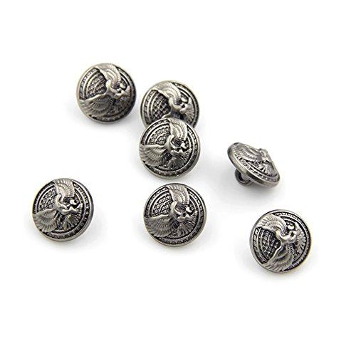 Geprägt Blazer (10mm Fashion Eagle geprägt Metall Deko Tasten für Männer Shirt. Coat Nähzubehör, 10Stück, silber)