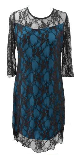 DangerousFX - Robe -  - À fleurs Femme Turquoise