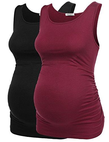 t Basic Tank Top Mama Kleidung Hals Sleeveless Tops Frauen Solide Seite Rüschen Weste ()