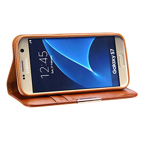COVO   Samsung Galaxy S7 Funda Funda Piel genuina Billetera Funda para Samsung Galaxy S7 con Stand Funci  n Naranja