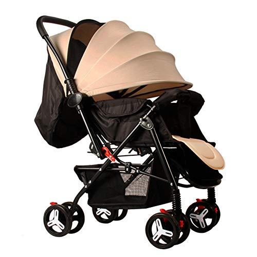 AZW Sonnenschutz-Kinderwagen-Tragetasche und Kinderwagen, Leichter Klapp-Buggy bis 25 kg Mit Liegeposition Liegend, Sonnenschutz-Vierrad-Kinderwagen,Beige