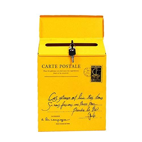 95sCloud US Mailbox | Amerikanischer Briefkasten 30×23×6cm | Letterbox Stahl, Briefkasten,2X Schlüssel Standbriefkasten Wandbriefkasten Letterbox Zeitungsbox Wandbriefkasten Postkasten (Gelb)