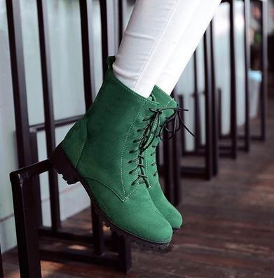 &ZHOU femmina adulti 'Boots autunno e l'inverno stivali brevi Martin stivali Cavaliere stivali A38 Green