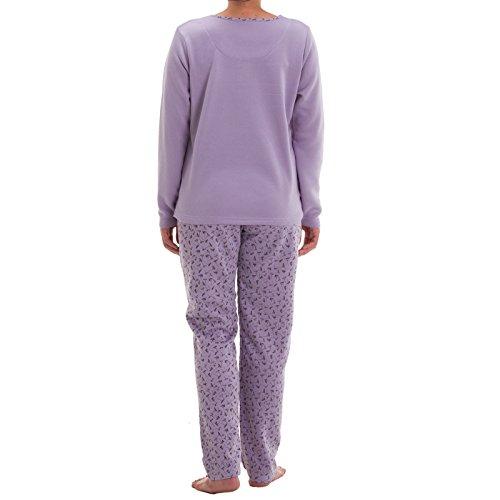 Lucky thermo pyjama avec roses püntkchen pression doux pyjama chemise de nuit Violet - Lilas