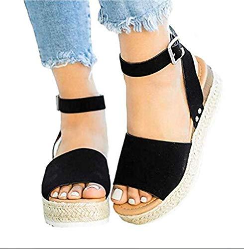 XLBHSH Women Platform Summer Wedge Sandals Flat Open Toe Espadrille 5 cm Heeled Faux Leather Ankle Strappy Buckle Sandals,01,36 Lady Open Toe Strappy Sandal