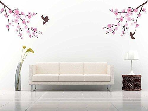 volle Farbe Cherry Blossom Baum Vogelkäfig Vogel Zweig Wand Aufkleber Sticker Wandsticker groß