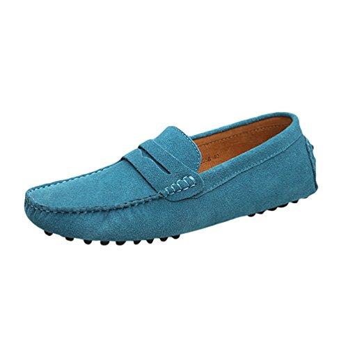 Baymate Hommes Confort Conduire Voiture Glisser Sur Loafers Appartements Ciel Bleu