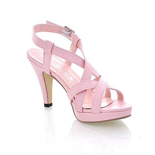 Minetom Damen Sexy High Heel Gladiator Sandale Riemchen öffnen Zehe Sommer Party Plattform Pumpen Schuhe Pink