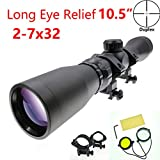 Suphunter Long Eye Relief 2-7x32 Mosin Nagant Rifle Scope 1891/30 M39 M44 M38 91/30 Duplex Scout Scope Picatinny/Weaver Ring Mount 1913 Ring Mount