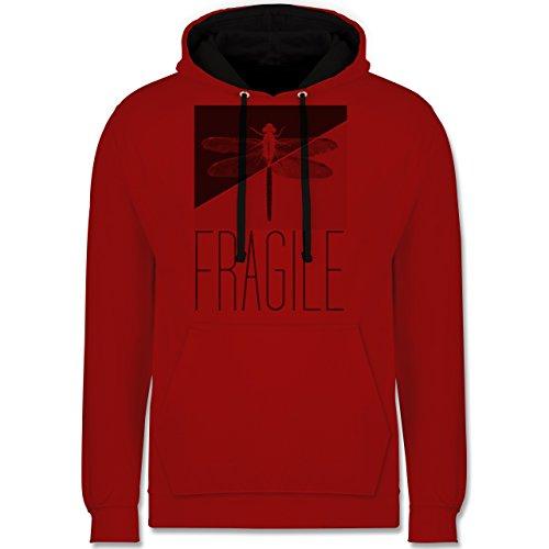 Statement Shirts - Fragile - Libelle - Kontrast Hoodie Rot/Schwarz