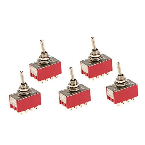 MagiDeal 5pcs Mini-Kippschalter Auf / Auf Kippschalter 12 Pin-Modell 4PDT Kippschalter für Modell Rot -