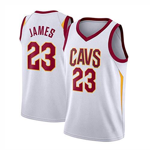 XHDH Jungen Mädchen Männer Erwachsene Cavs 23# James gesticktes Ineinander greifen Basketball Swingman Jersey Sleeveless Sport-Weste-Spitze - Männer Basketball-Trikots,Weiß,XXL(95kg~110kg) -