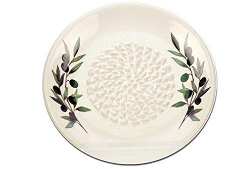 Knoblauchreibe aus Keramik, Weiß - Olivenzweig