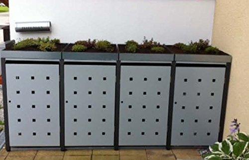 Resorti Mülltonnenbox Quadra 2-4 Mülltonnen mit 120 / 240 Liter Volumen Feuerverzinkt und Pulverbeschichtet inkl. Kippvorrichtung und Pflanzdach … (3 x 240 Liter, Anthrazit RAL7016) - 3