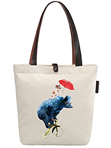 So'each Women's Bicycle Bear Dog Graphic Canvas Handbag Tote Shoulder Bag