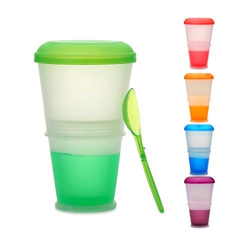 Müsli To Go Becher mit Milch-Kühlfach & Löffel, Müslibecher, Joghurtbehälter, Thermobecher, Müslidose (Grün)