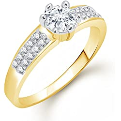 Meenaz Solitaire Ring Valentine Love Single Stone Ring For Girls & Women In American Diamond Cz Gold Ring FR467 (10.0)
