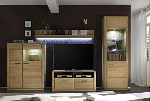 Dreams4Home Wohnkombination 'Yascha II' 4-teilig, Eiche Bianco massiv, optional mit Beleuchtung, Schrank, TV-Schrank, TV Element, Wohnwand, Wohnelement, Wohnzimmer, Regalwand, Highboard, Vitrine, Beleuchtung:mit LED Beleuchtung - 2