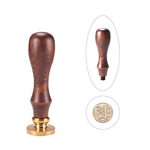 PandaHall Elite 1 Stück DIY Holz Wachs Siegel Stempel, Alphabet Sammelalbum Messing Briefmarken und Holzgriff Sets, Buchstabe L, 25x14mm