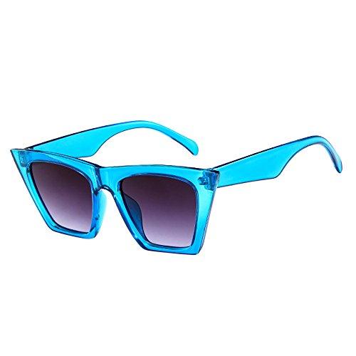 Mode Damen Oversized Übergroße Sonnenbrille Vintage Retro Mode Katzenauge Brille Sonnenbrille Super Coole Damenbrillen Frauen Cat Eye Sunglasses Sonnenbrille (Blau)