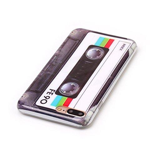Voguecase® Pour Apple iPhone 7 Plus 5,5, TPU avec Absorption de Choc, Etui Silicone Souple Transparente, Légère / Ajustement Parfait Coque Shell Housse Cover pour Apple iPhone 7 Plus 5,5 (dollar)+ Gra Rétro Blanc Cassette