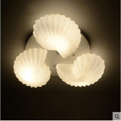 YYSTORR Holz Wohnzimmer Lampe Moderne Minimalistische Zimmer Gemütliche Studie Schlafzimmer Beleuchtung Lampen Und Drei Muscheln Deckenleuchte,3 (Senden 5W Gelbe Led)