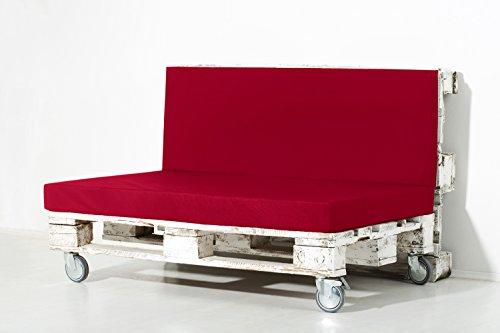 Palemare Palettenkissen Palettenpolster RG50 Nylon 120x80x15cm (Set: Sitzkissen + Rückenlehne) Indoor Outdoor Bezug Rot waschbar